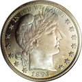Proof Barber Half Dollars: , 1893 50C PR67 NGC. A truly superlative example that displays exquisite, original toning on both sides in shades of gunmetal...