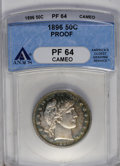 Proof Barber Half Dollars: , 1896 50C PR64 Cameo ANACS. The watery, elegantly toned mirrors and standout devices create a pleasing cameo effect. This pr...