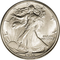 1916-S 50C MS64 PCGS. This brilliant and satiny near-Gem has bright surfaces and a favorable strike. The obverse is refr...