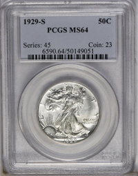 1929-S 50C MS64 PCGS. The soft, satiny surfaces are largely untoned with olive-gold toning on parts of the lower obverse...