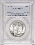 1942-D 50C MS67 PCGS. The devices exhibit moderate frost on the obverse, while the reverse devices do not. The luster is...