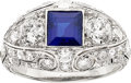 Estate Jewelry:Rings, Art Deco Sapphire, Diamond, Platinum Ring. ...