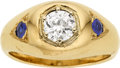 Estate Jewelry:Rings, Gentleman's Diamond, Sapphire, Gold Ring. ...