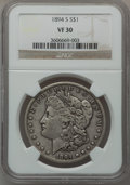 Morgan Dollars: , 1894-S $1 VF30 NGC. NGC Census: (17/2441). PCGS Population(50/3985). Mintage: 1,260,000. Numismedia Wsl. Price for problem...