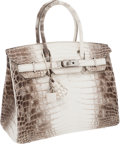 Luxury Accessories:Bags, Hermes Ultra Rare 30cm Matte White Himalayan Crocodile Birkin Bagwith Palladium Hardware. ...