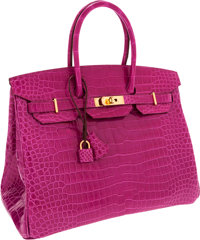 Hermes Horseshoe One of a Kind 35cm Shiny Rose Scheherazade Porosus Crocodile Birkin Bag with Rose Tyrien Interior &...