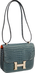Luxury Accessories:Bags, Hermes Extraordinary Collection 18cm Diamond Blue Jean Porosus Crocodile Double-Gusset Constance Bag with 18K White Gold Hardw...