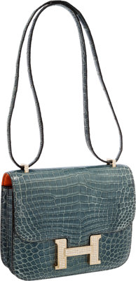 Hermes Extraordinary Collection 18cm Diamond Blue Jean Porosus Crocodile Double-Gusset Constance Bag with 18K White Gold...