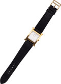 Luxury Accessories:Accessories, Hermes Gold H-Hour MM Watch with Black Epsom Leather Strap. ...
