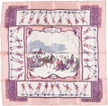"Luxury Accessories:Accessories, Hermes Mauve & Cream ""Les Plaisirs du Froid,"" by Hugo GrygkarSilk Scarf. ..."