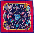 "Luxury Accessories:Accessories, Hermes Navy & Red ""Hello-Dolly,"" by Loic Dubigeon Silk Scarf...."