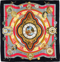 """Luxury Accessories:Accessories, Hermes Black, Red & Gold """"La Ronde des Heures,"""" by LoicDubigeon Silk Scarf. ..."""