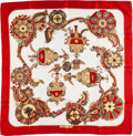 """Luxury Accessories:Accessories, Hermes Red, White & Gold """"Cendrillon,"""" by Karin Swildens Silk Scarf. ..."""