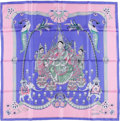 "Luxury Accessories:Accessories, Hermes Periwinkle & Pink ""India,"" by Caty Latham Silk Scarf...."