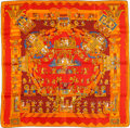 "Luxury Accessories:Accessories, Hermes Orange & Red ""Astres et Soleils,"" by Annie Faivre SilkScarf. ..."