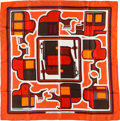 "Luxury Accessories:Accessories, Hermes Orange & Burgundy ""Les Coupes,"" by Francoise de laPerriere Silk Scarf. ..."