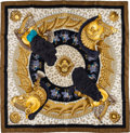 "Luxury Accessories:Accessories, Hermes White & Gold ""Casques et Plumets,"" by Julia Abadie SilkScarf. ..."
