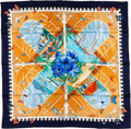"Luxury Accessories:Accessories, Hermes Navy & Gold ""Varangues,"" by Dimitri Rybaltchenko SilkScarf. ..."