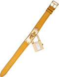 Luxury Accessories:Accessories, Hermes Gold Kelly Watch with Jaune Epsom Leather Strap. ...