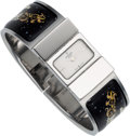 Luxury Accessories:Accessories, Hermes Silver Loquet Watch with Black & White Enamel Bangle....