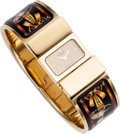 Luxury Accessories:Accessories, Hermes Gold Loquet Watch with Black & Orange Enamel Bangle. ...
