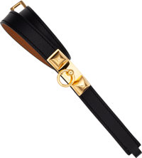 Hermes Black Swift Leather Rivale Bracelet with Gold Hardware