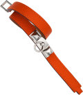 Luxury Accessories:Accessories, Hermes Orange H Epsom Leather Rivale Bracelet with Silver Hardware....