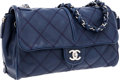 Luxury Accessories:Bags, Chanel Large Navy Lambskin Leather Flap Bag with Silver Hardware....