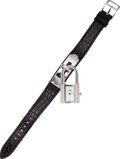 Luxury Accessories:Accessories, Hermes Stainless Steel Diamond Kelly Watch with Shiny Black Alligator Strap. ...