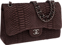 Chanel Gray Python Jumbo Double Flap Bag with Silver Hardware