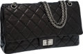 Luxury Accessories:Bags, Chanel Black Leather Jumbo Double Flap Bag with Silver Hardware....