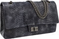 Luxury Accessories:Bags, Chanel Blue Smoke Python Jumbo Double Flap Bag with GunmetalHardware. ...