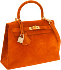 Luxury Accessories:Bags, Hermes 25cm Orange H Veau Doblis Sellier Kelly Bag with BrushedGold Hardware. ...