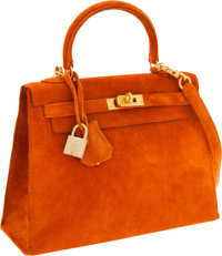 Hermes 25cm Orange H Veau Doblis Sellier Kelly Bag with Brushed Gold Hardware