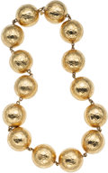 Luxury Accessories:Accessories, Gucci 18K Yellow Gold Crocodile Embossed Ball Necklace. ...