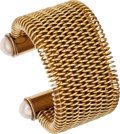 Luxury Accessories:Accessories, Chanel Gold Runway Mesh Cuff with Gripoix Pearl Caps. ...