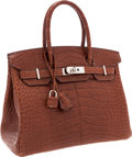 Luxury Accessories:Bags, Hermes 30cm Matte Marron d'Inde Alligator Birkin Bag with Palladium Hardware. ...
