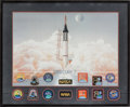 Autographs:Celebrities, Mercury Seven Astronauts: Limited Edition Lithograph Signed by Six,in a Framed Display. ...