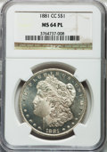 Morgan Dollars: , 1881-CC $1 MS64 Prooflike NGC. NGC Census: (227/66). PCGSPopulation (389/188). Numismedia Wsl. Price for problem free NGC...
