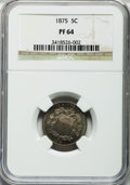 Proof Shield Nickels: , 1875 5C PR64 NGC. NGC Census: (114/83). PCGS Population (124/73).Mintage: 700. Numismedia Wsl. Price for problem free NGC/...