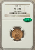 Indian Cents, 1868 1C MS65 Red and Brown NGC. CAC....