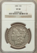Morgan Dollars: , 1894 $1 VF30 NGC. NGC Census: (94/2454). PCGS Population(150/3523). Mintage: 110,972. Numismedia Wsl. Price for problemfr...