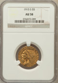 Indian Half Eagles: , 1915-S $5 AU58 NGC. NGC Census: (433/254). PCGS Population(129/264). Mintage: 164,000. Numismedia Wsl. Price for problem f...