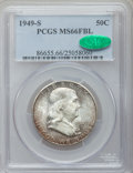 Franklin Half Dollars: , 1949-S 50C MS66 Full Bell Lines PCGS. CAC. PCGS Population (144/3).NGC Census: (19/1). Numismedia Wsl. Price for problem ...