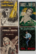 Books:Mystery & Detective Fiction, Ben Benson. Four First Editions. Mill-Morrow (three) and Collins(one). Publisher's bindings and dust jackets. Very good or ...(Total: 4 Items)