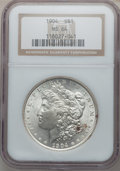 Morgan Dollars: , 1904 $1 MS64 NGC. NGC Census: (958/101). PCGS Population(1249/218). Mintage: 2,788,650. Numismedia Wsl. Price for problem...