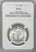 Walking Liberty Half Dollars: , 1917 50C MS64 NGC. NGC Census: (654/252). PCGS Population(728/385). Mintage: 12,292,000. Numismedia Wsl. Price forproblem...