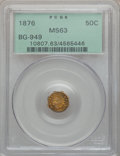 California Fractional Gold: , 1876 50C Indian Octagonal 50 Cents, BG-949, R.4, MS63 PCGS. PCGSPopulation (19/39). NGC Census: (4/4). ...
