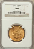 Indian Eagles: , 1912-S $10 AU55 NGC. NGC Census: (187/659). PCGS Population(155/536). Mintage: 300,000. Numismedia Wsl. Price for problem ...