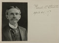 """Autographs:Authors, Frank Stockton. Signed and Dated Display Piece. Signed, """"Frank R.Stockton April 26 / [18]97."""" Single bifolium. Measures 5 x..."""